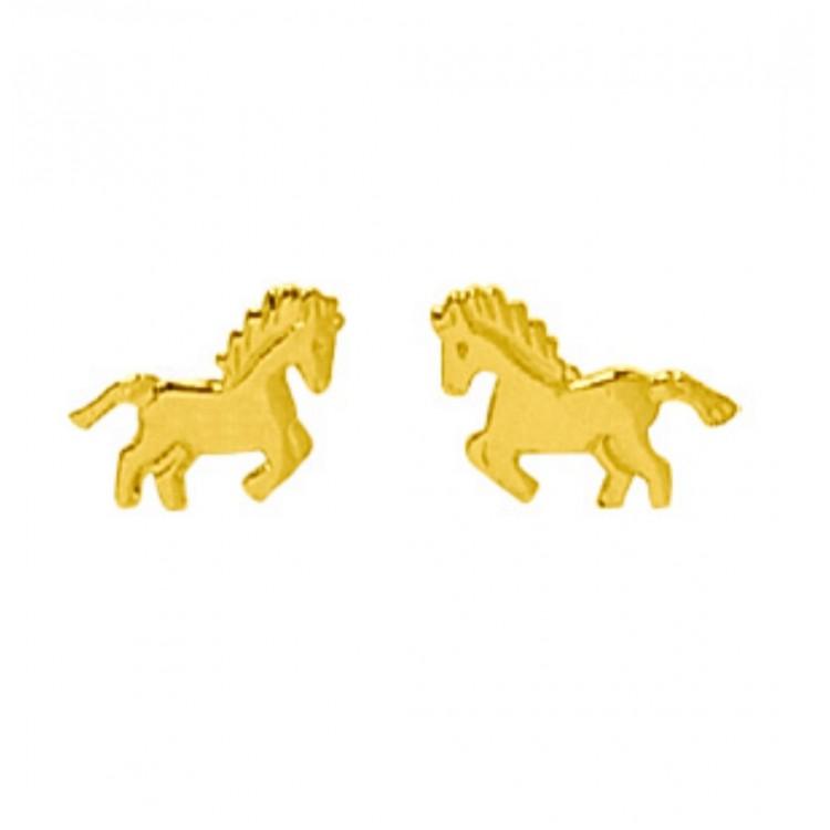 Boucle d'oreille cheval tout or